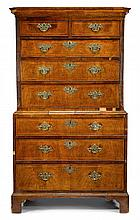George II line inlaid walnut chest on chest, circa 1760,