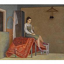 "IDA LORENTZEN, (AMERICAN, B. 1951), ""INTERLUDIUM (GIRL WITH FLUTE)"""