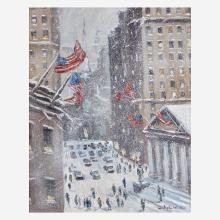 Christopher Willett (American, B. 1959) Wall Street Facing Trinity Church, N.Y. City