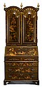 George III style gilt decorated red and brown lacquered secretary bookcase, incorporating some 18th century elements, In two sections,