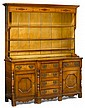 Welsh oak parquetry inlaid dresser, 19th century, In two parts: the superstructure with molded cornice over parquetry inlaid frieze and