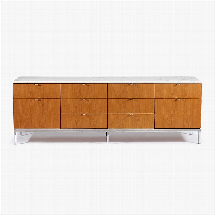 Florence knoll b 1917 teak and marble credenza knoll as for Knoll and associates