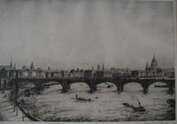 1 piece. Etching. Baird, Johnstone. London Bridge & St. Pauls. Ca. 1920.