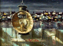 MARTIN JACKSON (American 1871-1955)  LANTERN WITH A CITYSCAPE IN THE DISTANCE