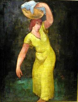 WERNER HEUSER (German 1880-1964)  WASCHE TRAGENDE FRAU