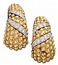 Lady's 18 karat yellow gold, platinum and diamond earrings, David Webb, , Beaded gold accented by petite round cut diamonds, total dia