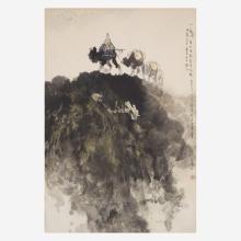 LI SHAN (CHINESE B.1926-D.2019) 李山 CAMELS ON A MOUNTAIN RIDGE 驼队山行图
