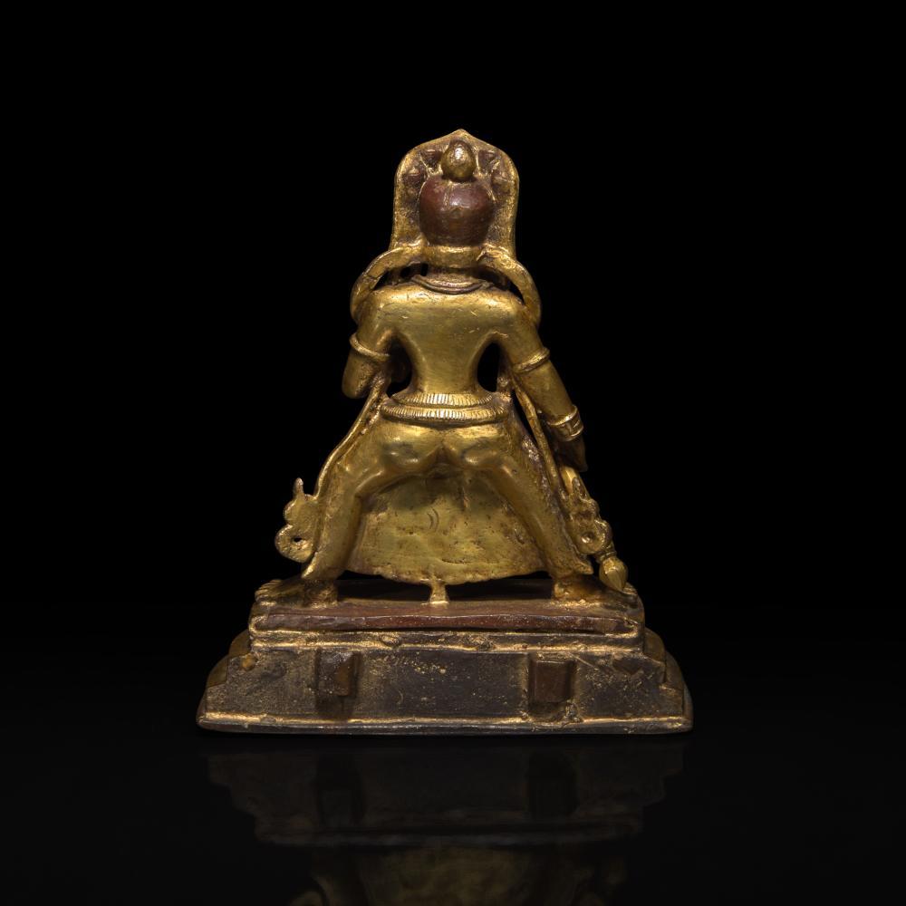 A SINO-TIBETAN OR MONGOLIAN GILT BRONZE WRATHFUL DEITY 中原或藏传或蒙古怒像铜鎏金造像 18TH CENTURY 十八世纪