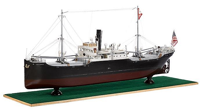 Painted wooden builders' model of the S.S. Cedar Spring, 20th century, Fully fitted model mounted on base.