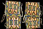 Pair of large Sioux painted parfleche envelopes, early 20th century, Each of rectangular folded form decorated with blue, yellow, red a