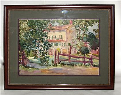Paul Remmey (1903-1958), landscape with house, Signed 'Paul B. Remmey, R.I.' lower right, watercolor on paper, framed.