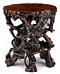 Chinese carved hardwood root-form display stand, 18th / 19th century, Carved in the form of a network of gnarled rootwork supporting a