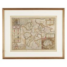 3 Pieces. Hand-Colored Engraved Maps - English & Continental. Late 16th and early 17th century.