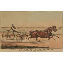 2 Pieces. Hand-Colored Lithographs. Currier, Nathaniel; Ives, James M., publishers. [Trotting Horses].