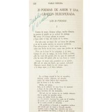 1 Vol. Neruda, Pablo. Sus mejores versos... Bogata: La Gran Columbia, no date [ca. 1943]. Signed.