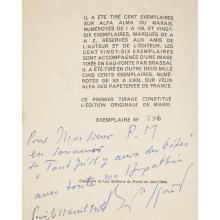 1 Vol. Brassai. Histoire de Marie. (Paris: Les editions du point du jour), (1949). First edition, #796/2500. Signed and inscribed.