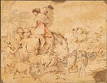 GIOVANNI BENEDETTO CASTIGLIONE, (ITALIAN 1609-1664), FIGURES, HORSE, SHEEP AND DOG