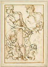 CIRCLE OF BACCIO BANDINELLI, (ITALIAN 1493-1560), STUDIES OF A MALE NUDE WITH PUTTI