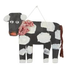 Mamie Deschillie (1920-2010), Black and white cow with red bow cutout