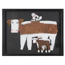 Mamie Deschillie (1920-2010), Cow with calf and spotted dog cutout