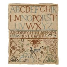 Needlework sampler, Worked by Sarah Haines (1795-1832), possibly Westtown School, dated