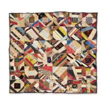 Embroidered crazy quilt with political ribbons, Embroidered,