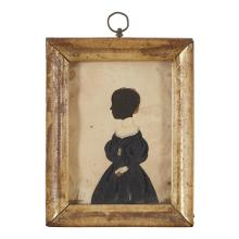 American School 19th century, Hollow-cut silhouette of a girl with painted dress