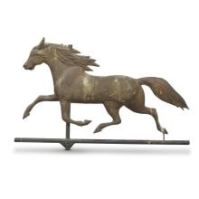 Full-bodied copper weathervane of a running horse, Late 19th
