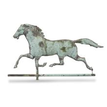Large full-bodied copper weathervane of running horse