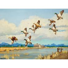 RICHARD EVETT BISHOP, (AMERICAN 1887-1975)DUCKS IN FLIGHT