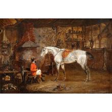 SAMUEL HENRY ALKEN, (BRITISH 1785-1851), SMITHY AND DAPPLED GREY