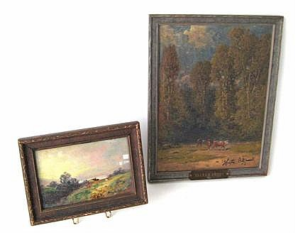 Harrington Fitzgerald (1847-1930), three works: landscape, a valley forge scene, and two figures in a stream, Each signed, two oil on p