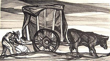 THREE PRINTS PABLO ESTEBAN O'HIGGINS, (AMERICAN/MEXICAN 1904-1983), UNTITLED (PEASANT WITH OX CART)