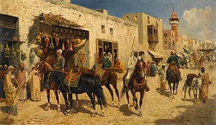 GIUSEPPE GABANI, (ITALIAN 1846-1899), ARAB HORSEMEN IN A BUSY STREET