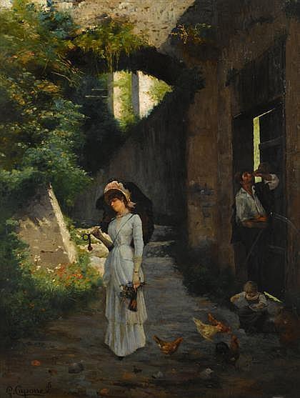 GAETANO CAPONE, (ITALIAN 1845-1920), AN AFTERNOON PROMENADE