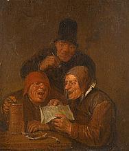 EGBERT VAN HEEMSKERCK THE ELDER, (DUTCH 1634-1704), THREE MEN IN AN INTERIOR