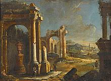 MANNER OF GIOVANNI PAOLO PANINI, (ITALIAN 1691-1765), CAPRICCIO WITH FIGURES