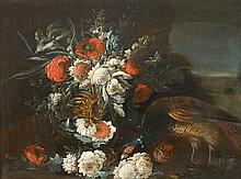 FOLLOWER OF JAKOB BOGDANI, (HUNGARIAN 1660-1724), PHEASANT AND MIXED FLOWERS IN A LANDSCAPE