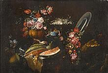 ITALIAN SCHOOL, (17TH CENTURY), STILL LIFE OF FLOWERS, BIRDS AND WATERMELON