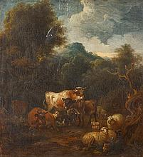 CIRCLE OF MICHIEL (CARRÉE) CARRE, (DUTCH 1657-1747), CATTLE, SHEEP, GOAT AND DONKEY IN A WOODED LANDSCAPE