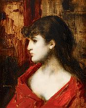 JEAN JACQUES HENNER, (FRENCH 1829-1905), YOUNG WOMAN IN PROFILE