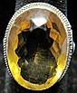 14 karat white gold and citrine ring, , Oval citrine, filigree setting.