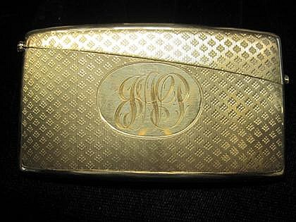14 karat yellow gold card case, 1930s, Monogram on front.