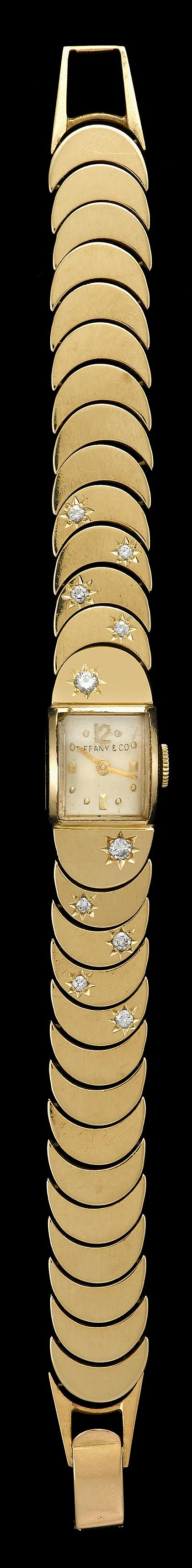 Retro 14 karat yellow gold and diamond wristwatch, Tiffany & Co., , Square case, silver tone face with Arabic numeral and dot dial, sig