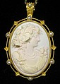18 karat yellow gold Etruscan revival coral cameo pendant, , Framed by petite pearls, can also be worn as a brooch.