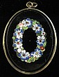 Micro mosaic pendant, , Featuring a floral wreath.