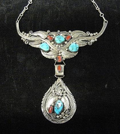 Sterling silver, turquoise and coral necklace, Robt Kelley, , Foliage design with turquoise and coral accents.