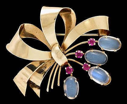14 karat yellow gold, moonstone and ruby brooch, Soret, , Ribbon and spray design, featuring four moonstone and four round cut rubies,