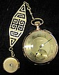 14 karat yellow gold pocket watch with fob, Zenith, , Circular case, gold tone face with Arabic numeral and dash dial, signed by the ma