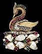 14 karat yellow gold, diamond, pearl and multi gem set 'swan' pin, , Featuring six baroque pearls and round cut emeralds, diamonds, r